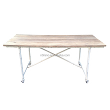 FN-6564 industrial french style metal leg with wheel wood dining table