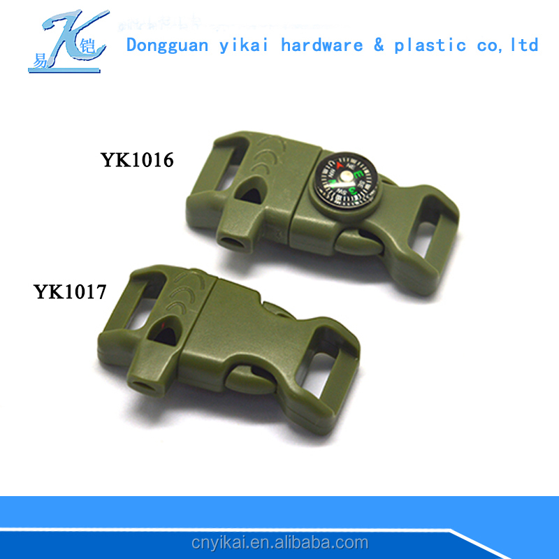 "1/2"" plastic whistle buckle,fire starter buckle for survival"