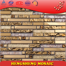 HTJ26 Dubai Luxury Glow Gold Foil Plating Stainless Steel Glass Mosaic Strip Wall Tile