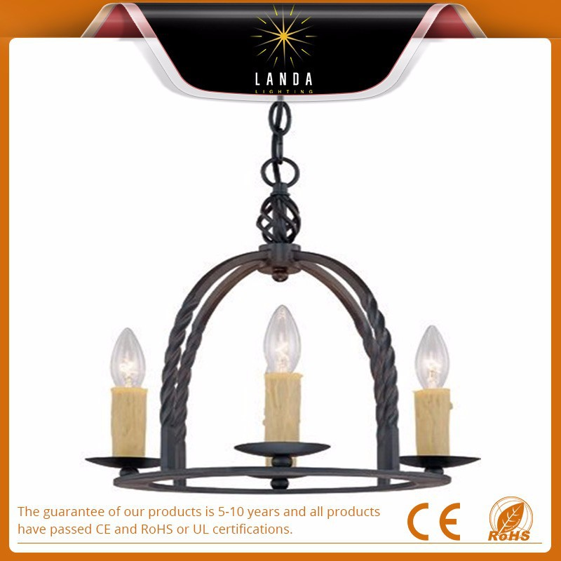American country style ancient black iron 4 lights hanging chandeliers pendant lights home lighting