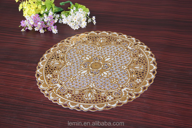 PVC lace place mats vinyl lace tablemat golden with print round 38cm