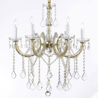 Classic Gold Maria Theresa Crystal Chandelier Pendant Light Hanging Lamp Lighting Fixture for Home Decor CZ6115/6G