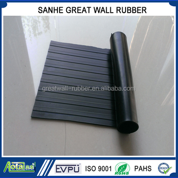 2m width anti slip Wide ribbed rubber flooring mat