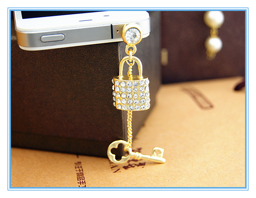 Hot selling promotional gifts mobile accessory 3D lock and key mobile phone anti dust plug