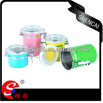 4pcs Colorful stainless steel kitchen fresh box / storage box / canister set