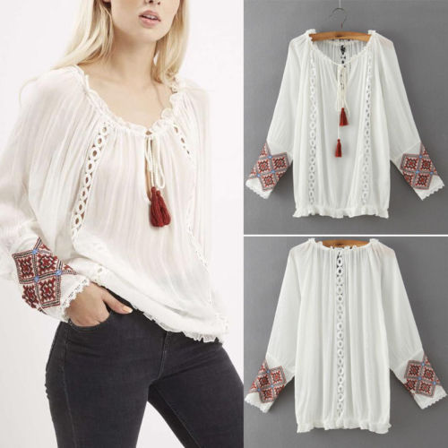 retro vintage long sleeve shirts hand embroidery designs for blouses