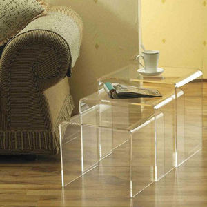 Modern Acrylic Nesting End Table Coffee Table 3pc Lucite Side Table Set