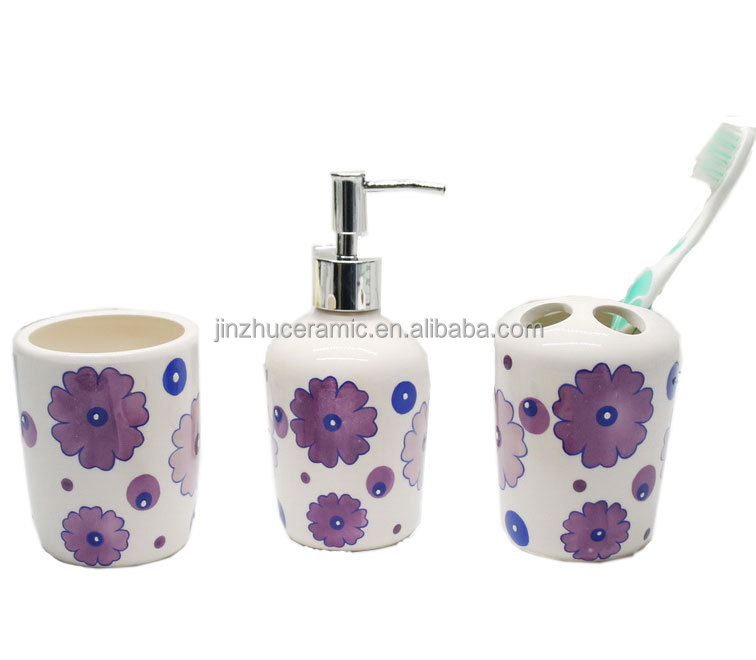 European style ceramic bathroom set with purple handpainting flower