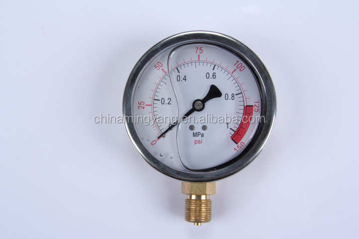 Durable LightWeight Easy To Read Clear Bourdon Sedeme caterpillar hydraulic pressure gauge