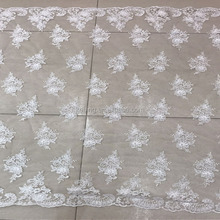 wholesale Latest french Paris fabrics 100% polyester silver embroidery lace fabric