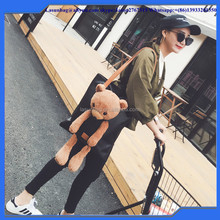 2016 Korea Bear Toys Lady Big Size PU Leather Tote Bag Beautiful Girls Fashion Handbags