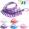 2017 New Hotselling 185cm 12pcs Portable Multifunctional Drying Rack Clips Cloth Hangers Steel Clothes Line Pegs Clothespins