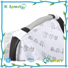 "42"" x 30"" pre-washed 100% cotton muslin car seat canopy"