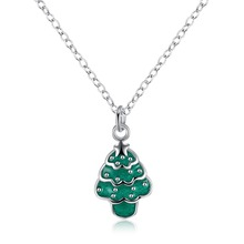 Silver plated green christmas trees turkish jewelry