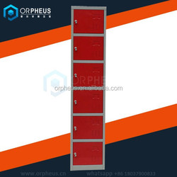 best selling 6 door steel cabinet clothes locker single column stainless steel lockers in red