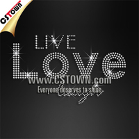 Live love laugh wholesale iron on rhinestone designs for t-shirt