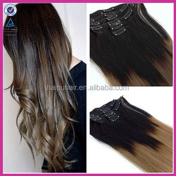 chinese whoesale supplier 8pcs with 18clips full head russian ombre color human hair clip in extensions