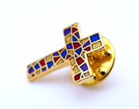 TOP QUALITY 2D Medal Shining Gold Cross Lapel Pin