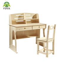 Solid pine wood stand up home desk student writing desk chair