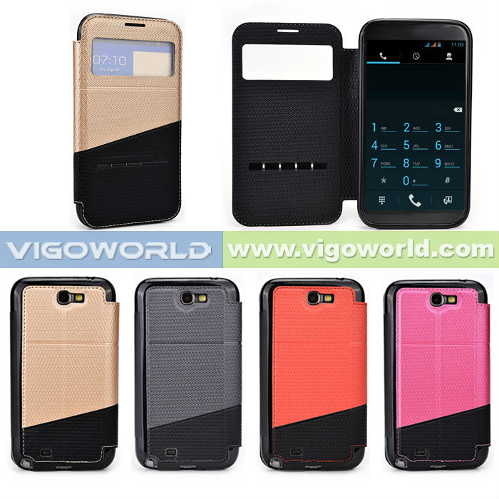 No MOQ!!! for Sansung Note 2 case, Slide leather case cover for Smasung Galaxy Note 2