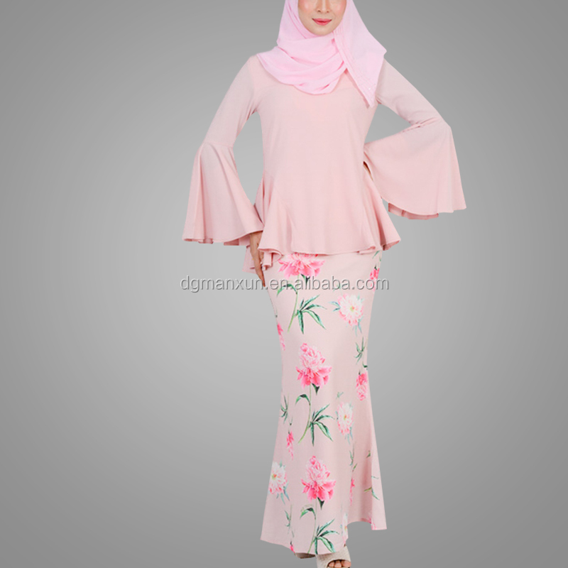 Wholesale Online Fashion Printing Baju Kurung Modern Long Sleeve Malaysia Design Muslim Abaya Dress