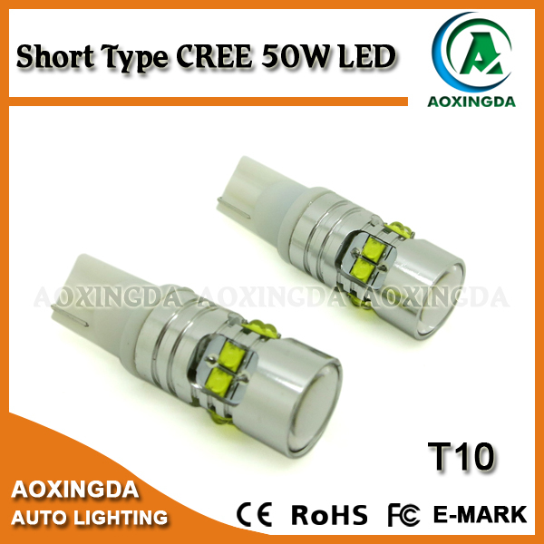2015 hot selling CREE 50W super bright T10 CANBUS LED bulb