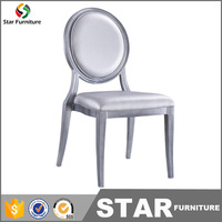 Italian modern wedding aluminium louis dining sliver leather chairs
