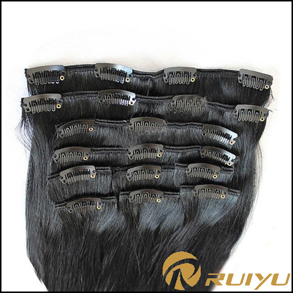 Clip-in kinky straight perm yaki human hair weave extensions