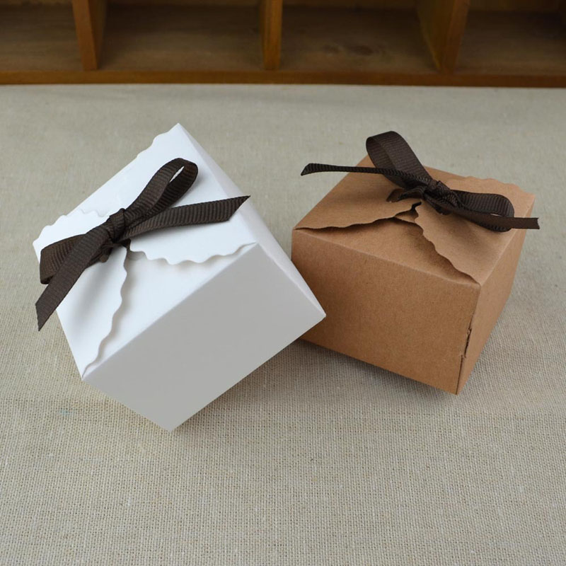 Vintage White and Kraft Gift <strong>Box</strong> with Ribbon Paper <strong>Box</strong> Package Wedding Party Favor