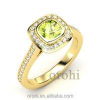 0.2 Ct 4mm Cushion Shape Natual Peridot 14k 18k Gold Halo Set Diamond Ring