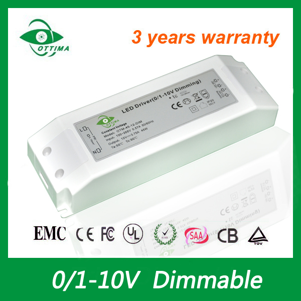 New design hot selling best quality constant voltage single output 12v 45w 0-10v dimming led driver