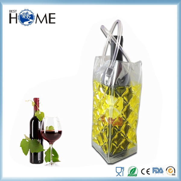 Custom Design Gel Ice Pack PVC Wine Cooler Bag with Handle