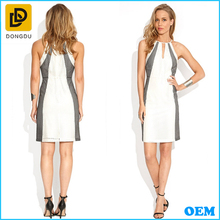 Sexy halter neck design sleeveless high neck white and grey color evening dress for women