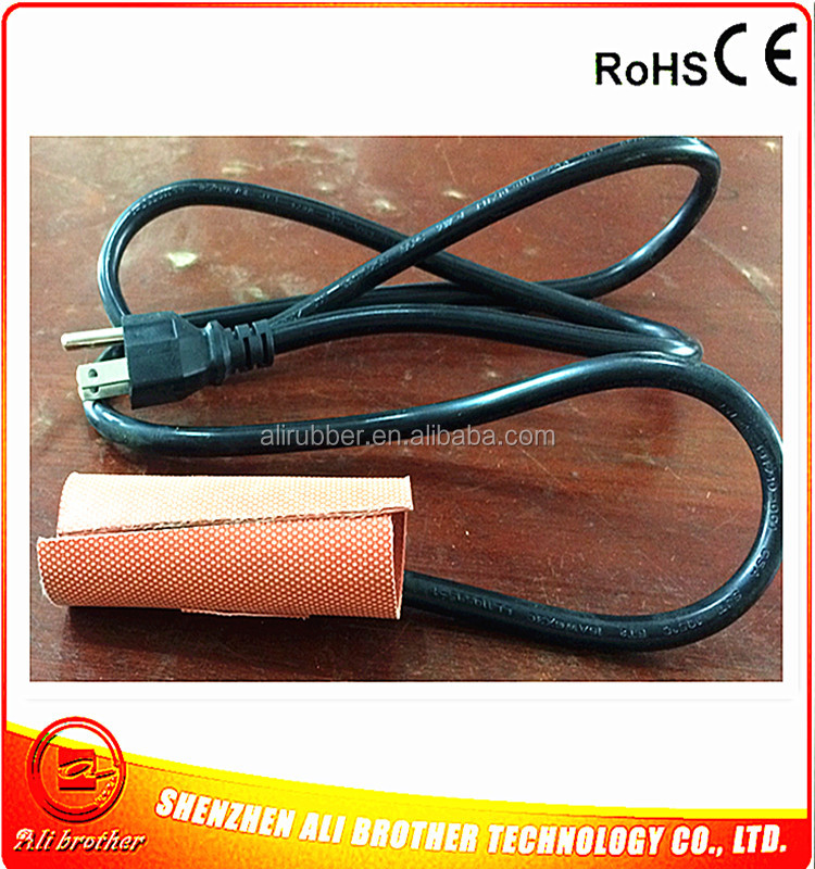 Silicone Heating Blanket for Pipe 240v 25w 80*150*1.5mm Flexible Silicone Rubber Heater 2000mm black lead wire from of short