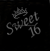 sweet 16 with crown rhinestone iron on transfer for shirt