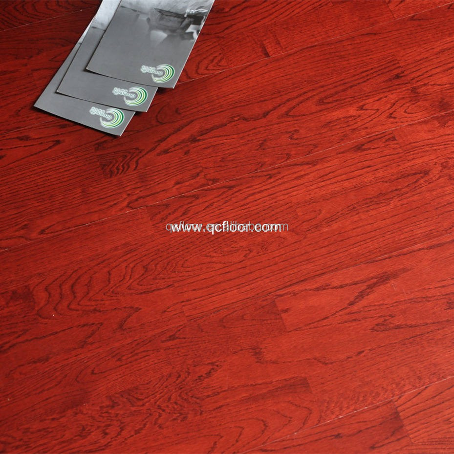3-ply 3-strip parquet red stained engineered oak flooring