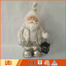 Best indoor ornament white fiberglass christmas santa claus decoration with a black lantern