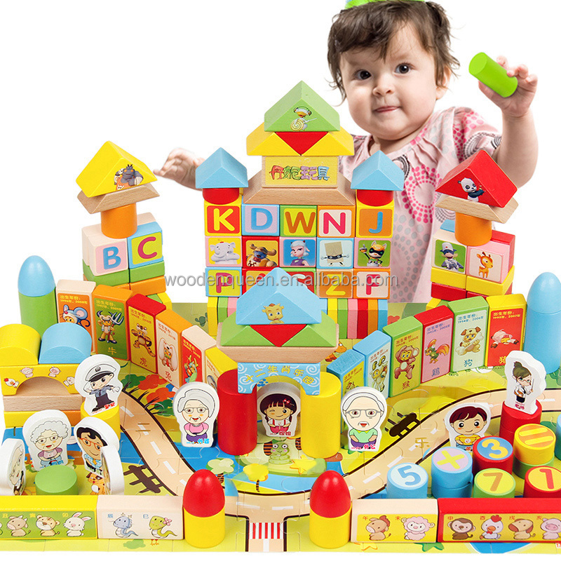 230pcs 12 Chinese Zodiacs block building toys for kids early education building blocks wood toy for kids