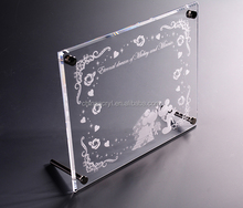 high quality size customized metal stand silk screen acrylic photo frame