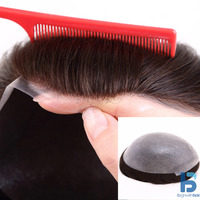 Indian Remy Human Hair Toupee/Wig For Men,Thin Skin Hair Systems