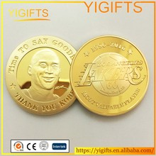 Wholesale Custom Kobe Bryant Super Star Basketball Player Coins Gold Metal Coins