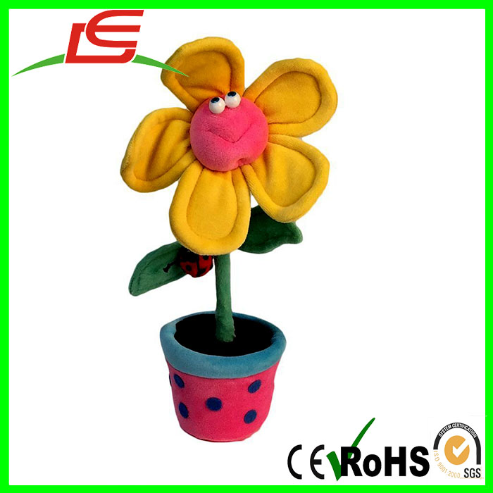 Funny Friends Yellow and Pink Plush Flower in Pot Nursery decoration