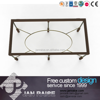 European house furniture style glass top metal coffee table with mirror