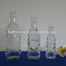 square liquor glass bottle in set 180ml 400ml 750ml