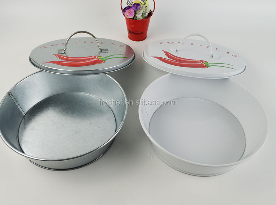 New Design Torilla Bowl Warmer Keeper Container 9inch White Color & Gray Color Metal