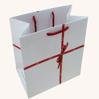 White paper shopping bag with ribbon handle