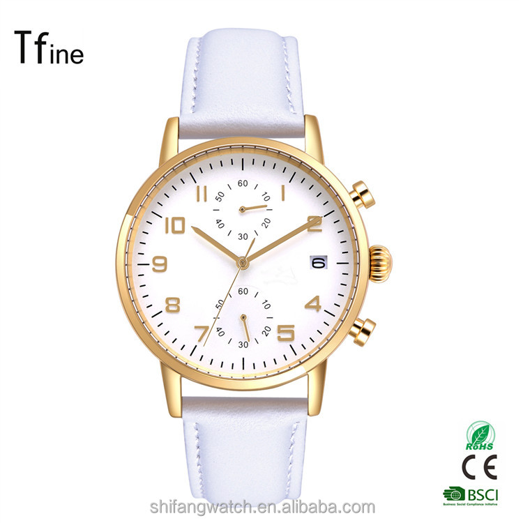 wholesale unisex high quality stainless steel case watch with white genuine leather band
