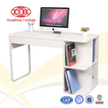 Hot selling low price white high gloss wooden computer desk with bookshelf