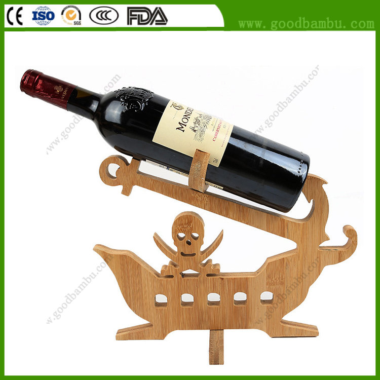 Manufacturer Supply Hot Sale Bamboo Pirate Wine Holder
