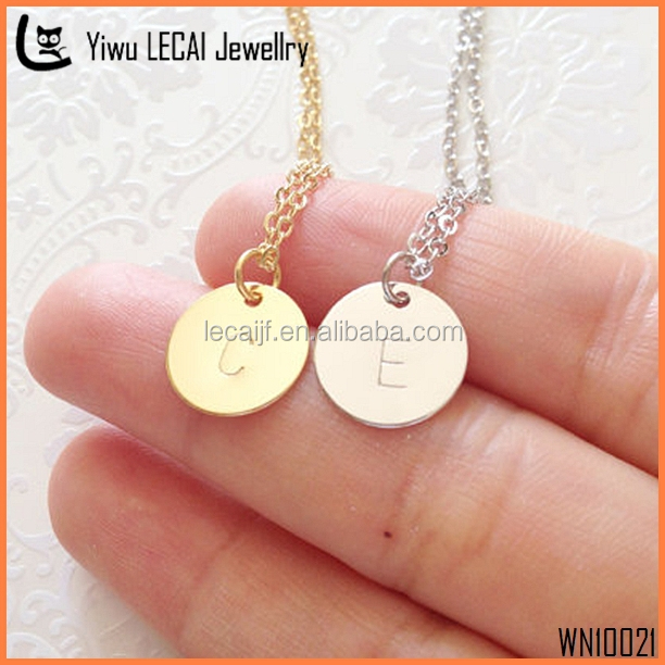Delicate Gold Letter Necklace, Silver Disc Necklace, Dainty Monogram Charm Neckalce For Bridesmaid Gift